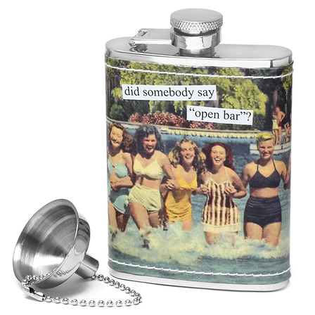 "Did Somebody Say ""Open Bar"" Flask by Anne Taintor"