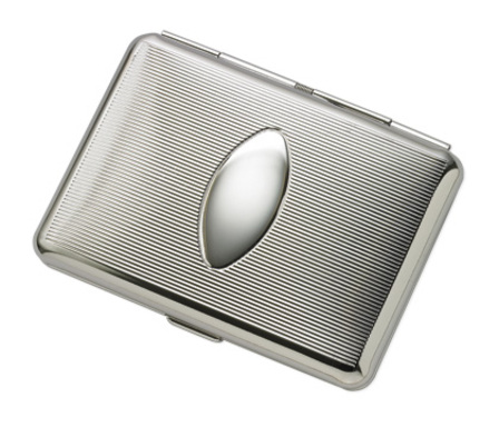Double Sided Engine Turned Design Silver Tone Cigarette Case for Kings with Oval Engraving Plate