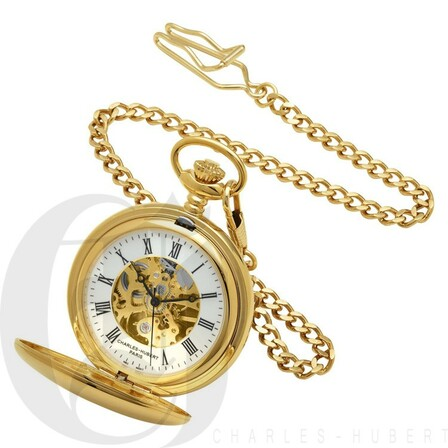 Dual Opening Gold Mechanical Charles Hubert Pocket Watch & Chain #3575-G