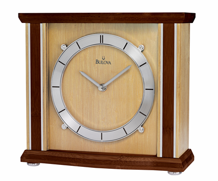 Empora Bamboo Table Clock by Bulova