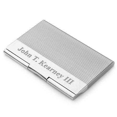 Engraved Engine Turned Business Card Holder