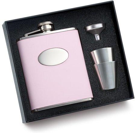 Engravable Pink Leather Flask Set