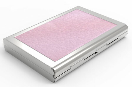 Women's Pink Leather Engraved Business Card Case