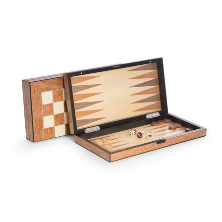 Executive  Wood  Backgammon  &  Chess  Set