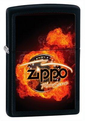 Flaming Zippo Motor Sports Black Matte Zippo Lighter - ID# 28335