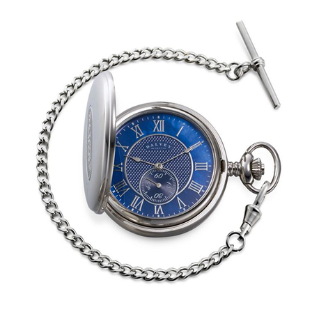 Full Hunter Blue Dial Pocket Watch & Stand by Dalvey