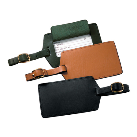 Genuine Leather Luggage Tag with Snap Closing Viewing Window