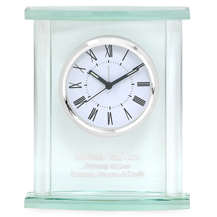 Glass Personalized Table Clock with Silver Finish Accents