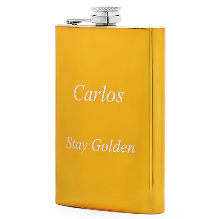 Personalized Gold Finish Flask