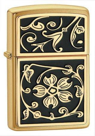 Gold Floral Flush Emblem Brushed Brass Zippo Lighter - ID# 20903
