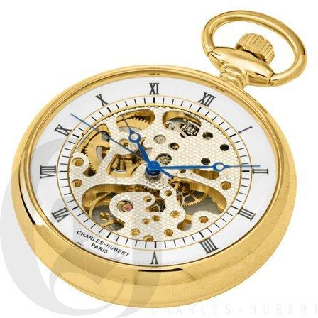 Gold Open Face Charles Hubert Pocket Watch & Chain #3801