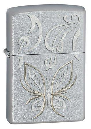 Golden Butterfly Satin Chrome Zippo Lighter - ID# 24339