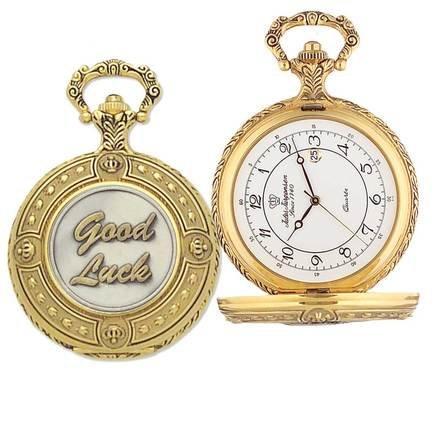 """Good Luck"" Themed Quartz Pocket Watch with Matching Chain by Jules Jurgensen"