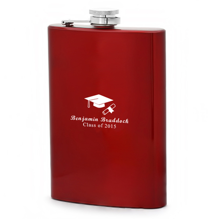 Cap & Gown Personalized Red Flask