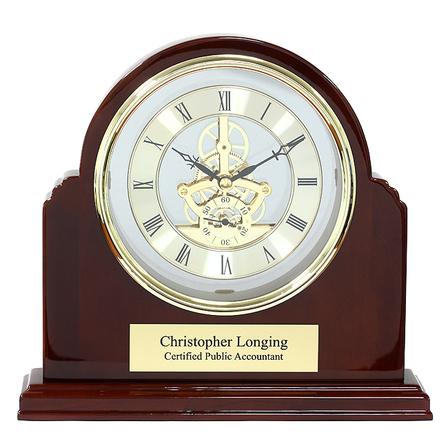 Grand Admiral Piano Finish Personalized Arch Mantel Clock