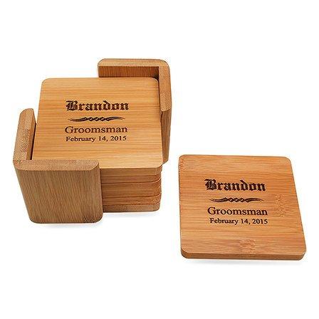 Groomsmen Gift  Square Bamboo Coaster Set