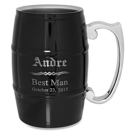 Groomsmen Gift  Steel Barrel Beer Mug - Black
