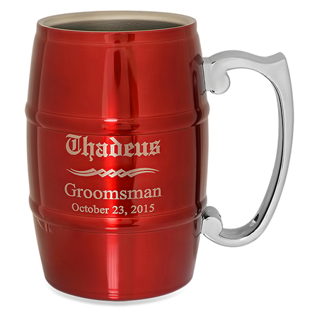 Groomsmen Gift  Steel Barrel Beer Mug - Red