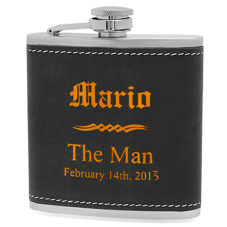Groomsmen Gifts Black & Orange Flask