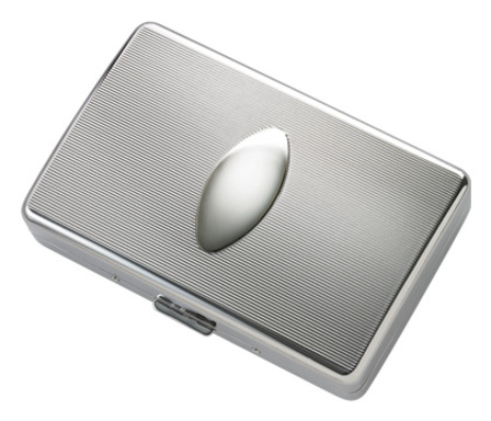 Grooved Silver Tone Engravable Kings Size Cigarette Case
