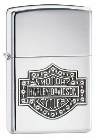 Harley Davidson Emblem High Polish Chrome Zippo Lighter with Swarovski Crystals - ID# 28349 - Discontinued