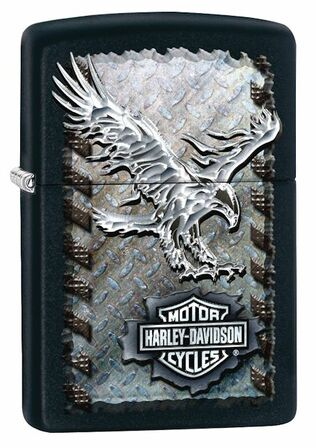 Harley Davidson Soaring Eagle Black Matte Zippo Lighter - ID# 28485