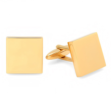 Polished Brass Square Block Cufflinks - Free Engraving