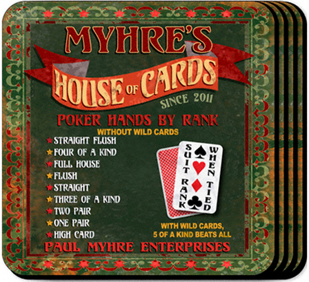 House Of Cards  Coaster Set - Free Personalization