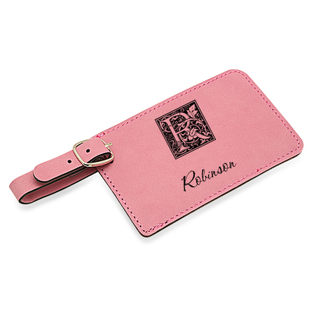 Initial Monogram Pink Luggage Tag