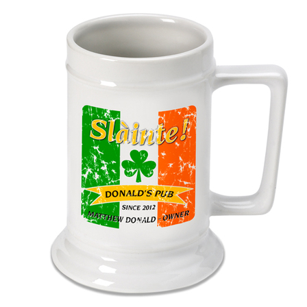 Irish Flag German Beer Stein - Free Personalization