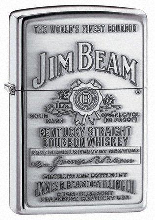Jim Beam Pewter Emblem High Polish Chrome Zippo Lighter - ID# 250jb-928