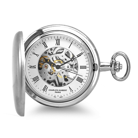 Engraved Silver Mechanical Charles Hubert Pocket Watch & Chain #3789-W