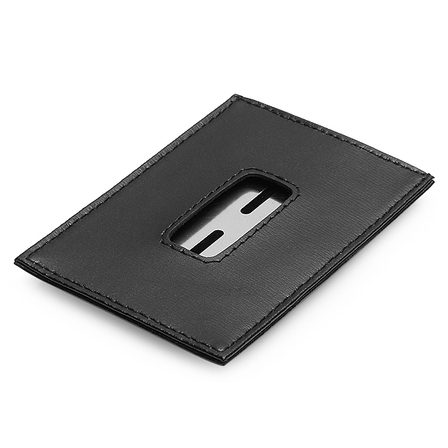Leather and Steel Engraved Credit Card Money Clip
