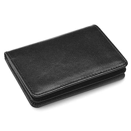 Leather Credit Card Wallet w/ ID Window - Free Personalization