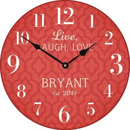 Live Laugh Love Personalized Red Wall Clock - Discontinued