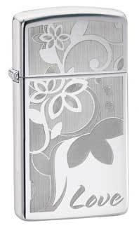 Love Slim High Polish Chrome Zippo Lighter - ID# 24816