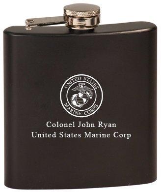 Personalized US Marines Black Flask