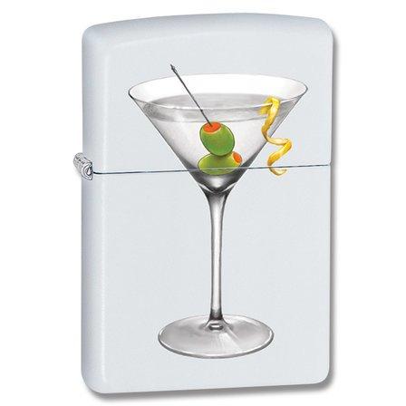 Martini White Matte Zippo Lighter - ID# 28271