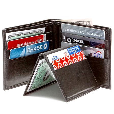 Men's Bifold  Wallet with Removable Credit Card/ID Sleeve