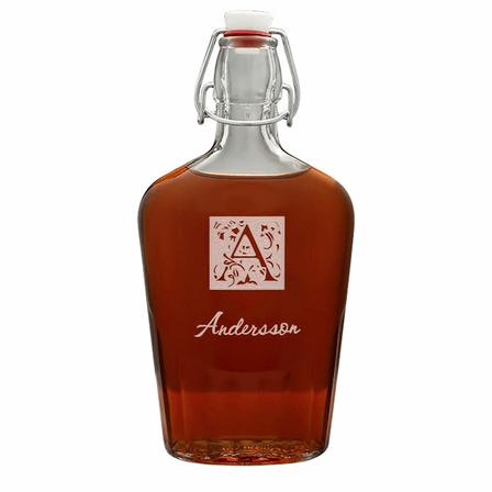 Monogram Large Vintage Glass Flask