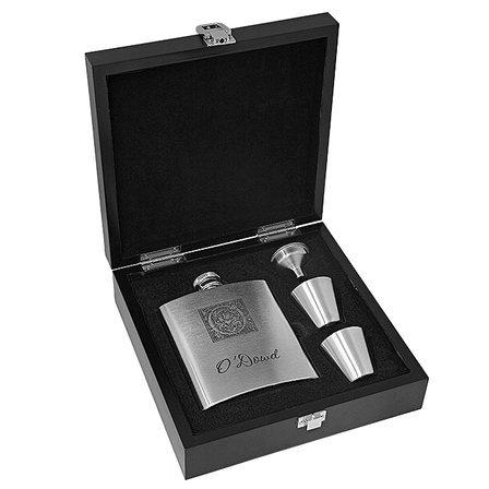 Monogram Stainless Steel Flask Gift Set