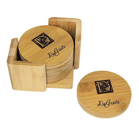 Monogram  Round Bamboo Coaster Set