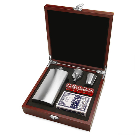 Personalized US Navy Flask & Gaming Set