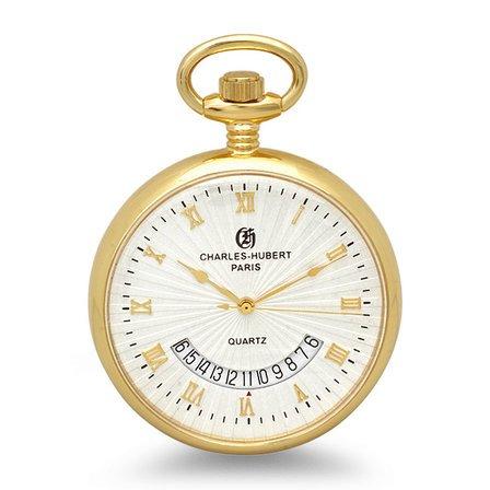 Open Face Quartz Charles Hubert Pocket Watch & Chain #3671