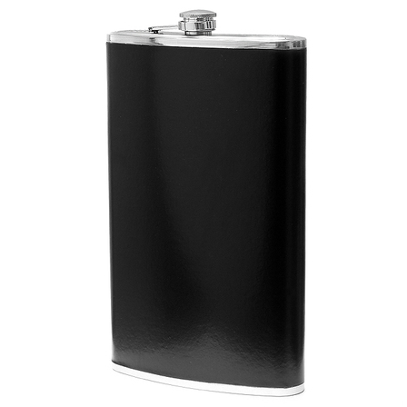 64 Ounce Personalized Black Leather Flask - Discontinued