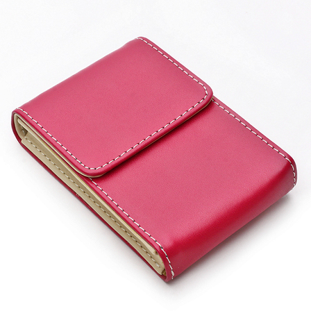 Pink Faux Leather Personalized Business Card Holder