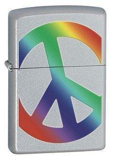 Peace Satin Chrome Zippo Lighter - ID# Z274