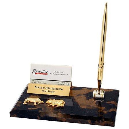 Bull & Bear Business Card Holder & Pen Desk Set