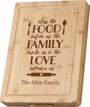 food family love grooved bamboo cutting board