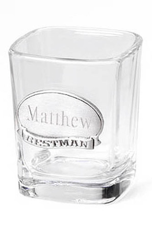 Personalized Gifts Square Shot Glass with Pewter Medallion